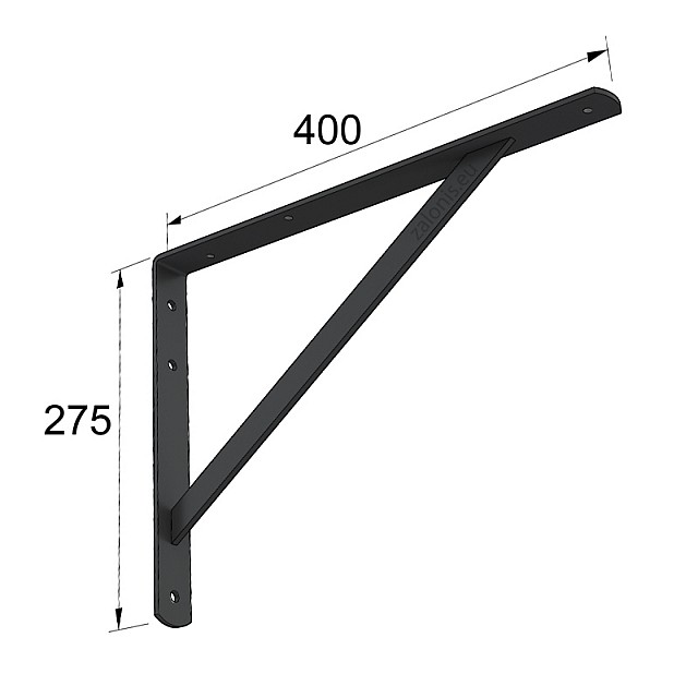 HEAVY DUTY SHELF BRACKET 400x275mm/225kg BLACK